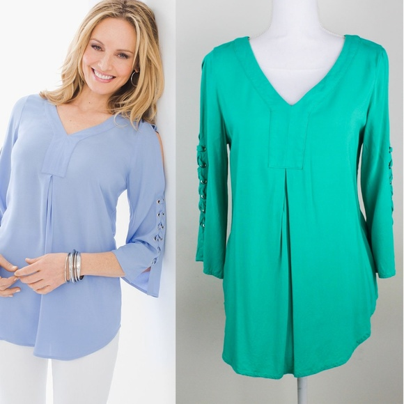 0792c9c11b9 Chico's Tops | Chicos Laceup Cold Shoulder Long Sleeve Tunic | Poshmark